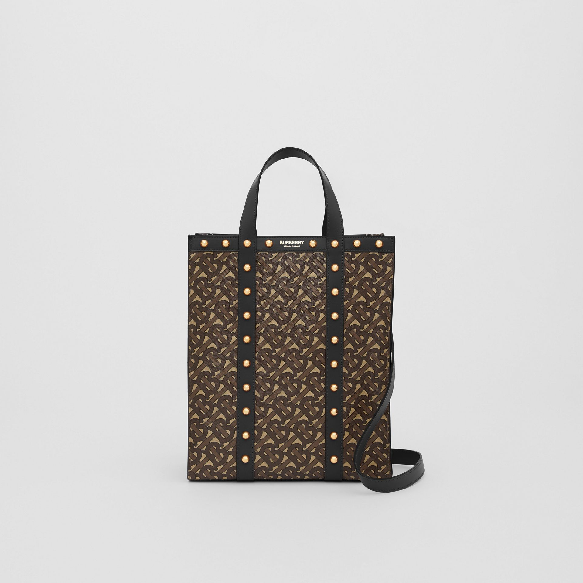 Small Monogram Print E-canvas Portrait Tote Bag in Black - Women | Burberry - gallery image 0