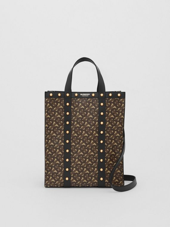 Small Monogram Print E-canvas Portrait Tote Bag in Black