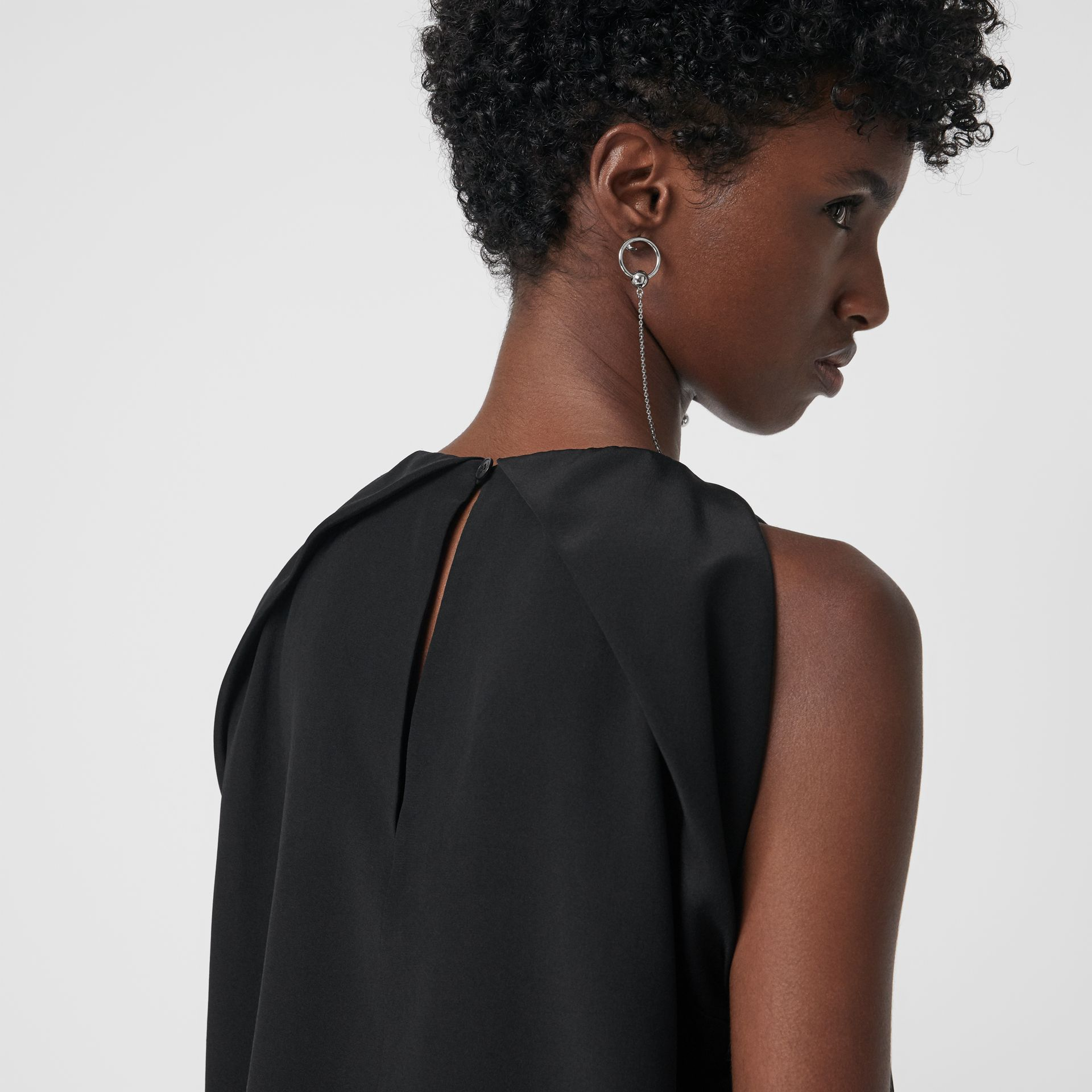 Sleeveless Panelled Silk Top in Black - Women | Burberry - gallery image 1