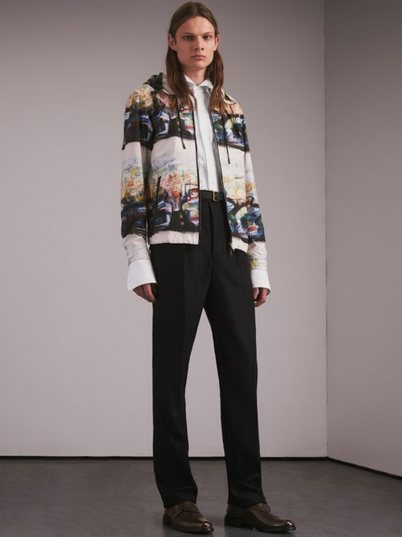 Reclining Figure: Bunched Print Hooded Jacket