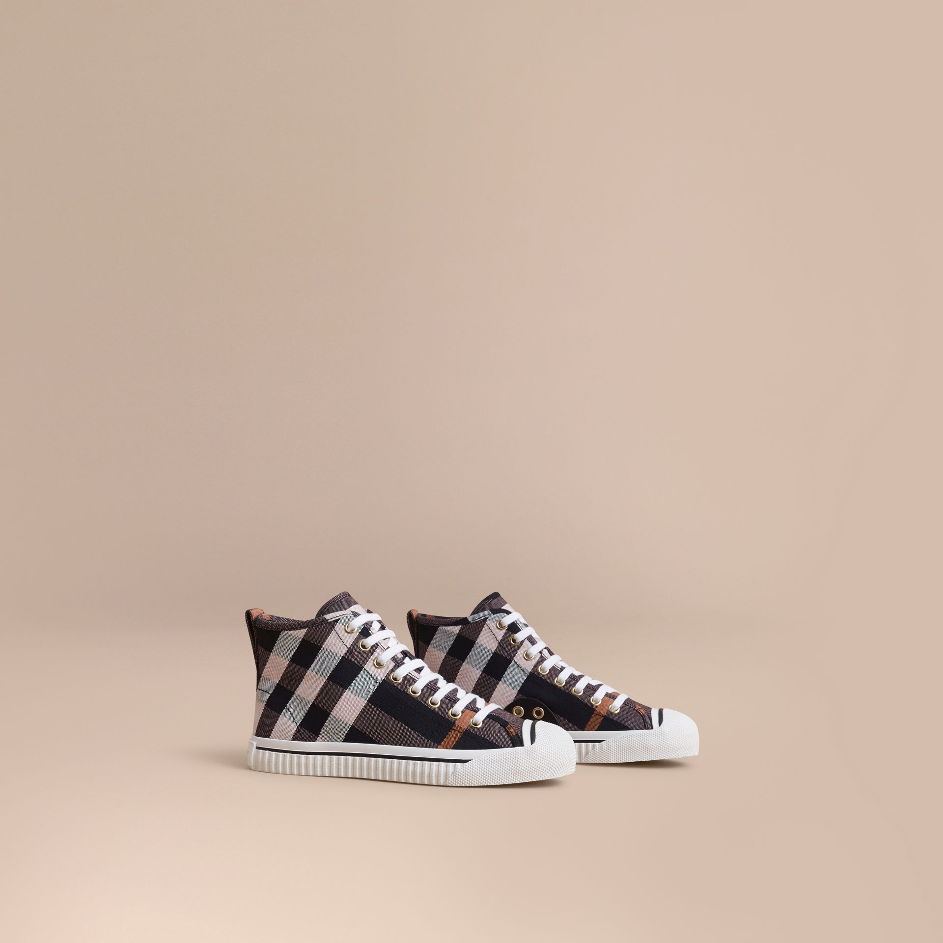 Check Linen Cotton High-top Trainers in Antique Rose - Women | Burberry - gallery image 1