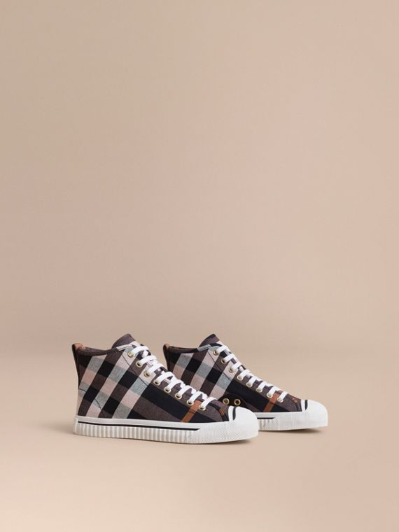 Check Linen Cotton High-top Trainers
