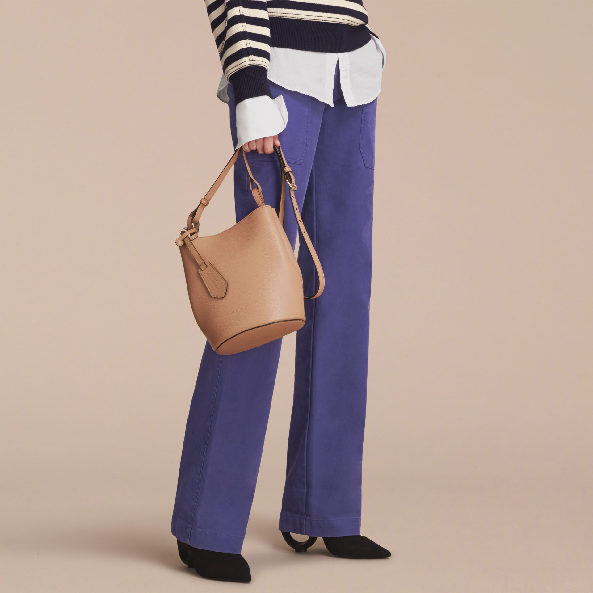 Leather and Haymarket Check Crossbody Bucket Bag in Mid Camel - Women | Burberry United Kingdom - gallery image 3