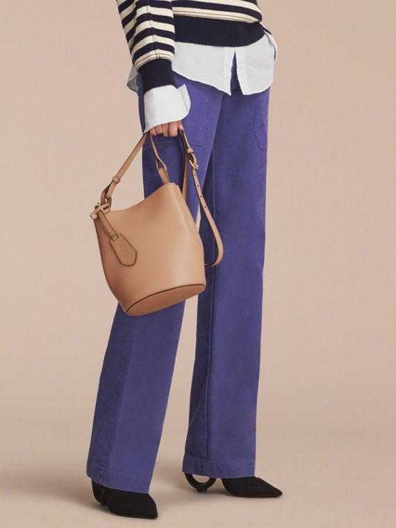 Leather and Haymarket Check Crossbody Bucket Bag in Mid Camel - Women | Burberry - cell image 2