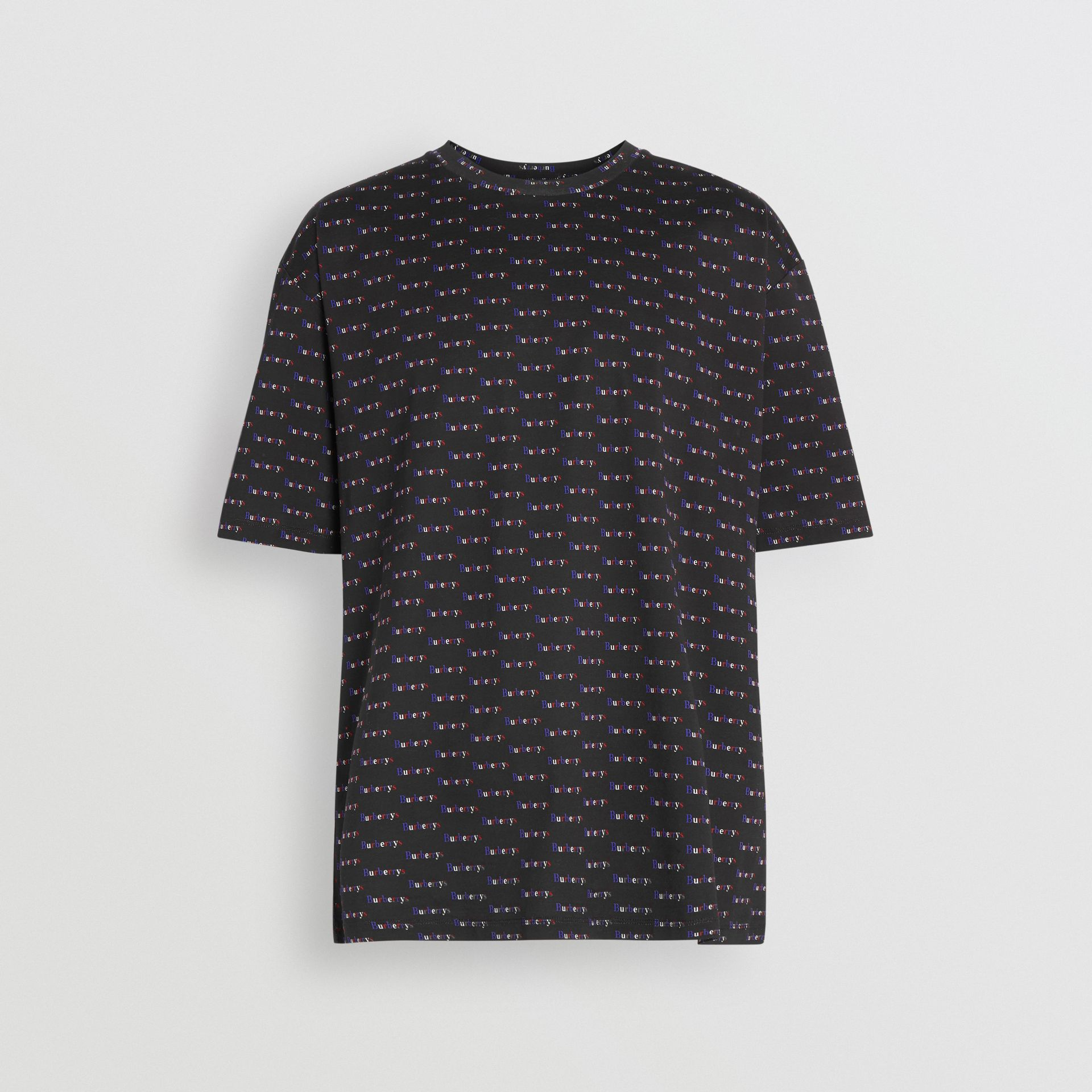 Archive Logo Print Cotton T-Shirt in Black - Men | Burberry - gallery image 3
