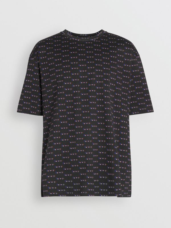 Archive Logo Print Cotton T-Shirt in Black - Men | Burberry - cell image 3
