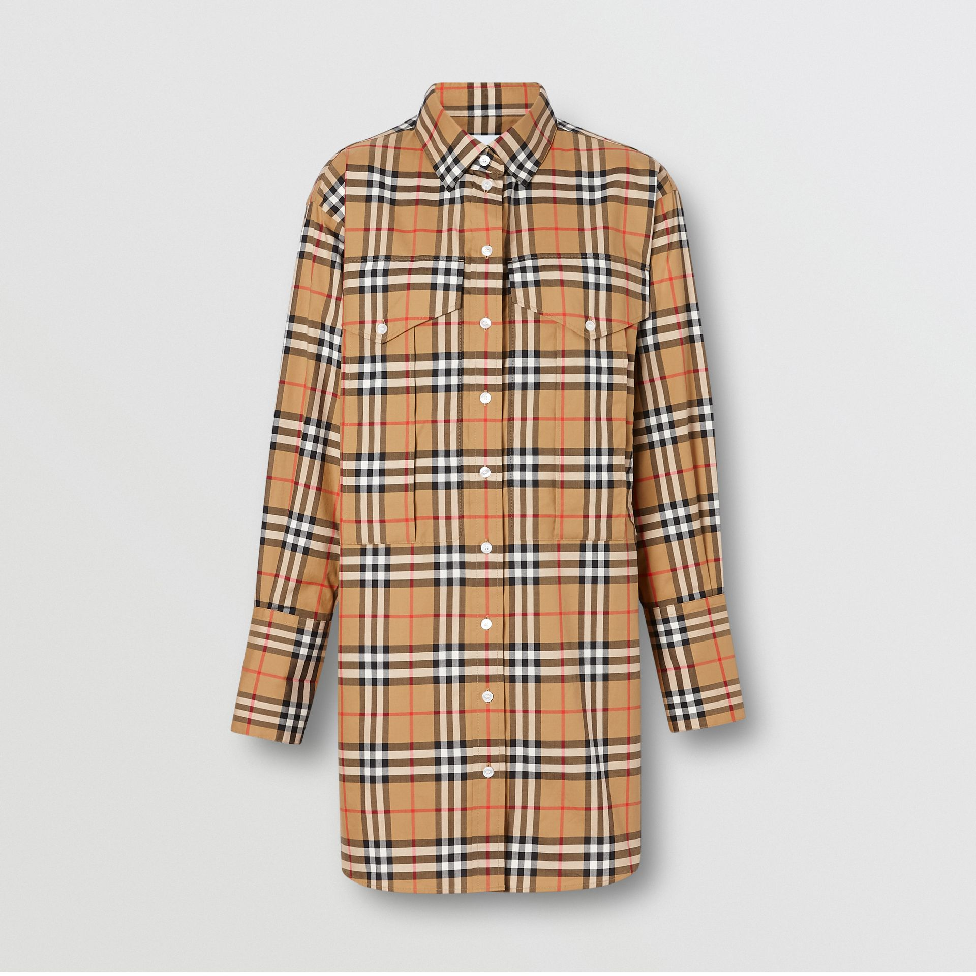 Vintage Check Cotton Oversized Shirt in Antique Yellow - Women | Burberry Singapore - gallery image 3