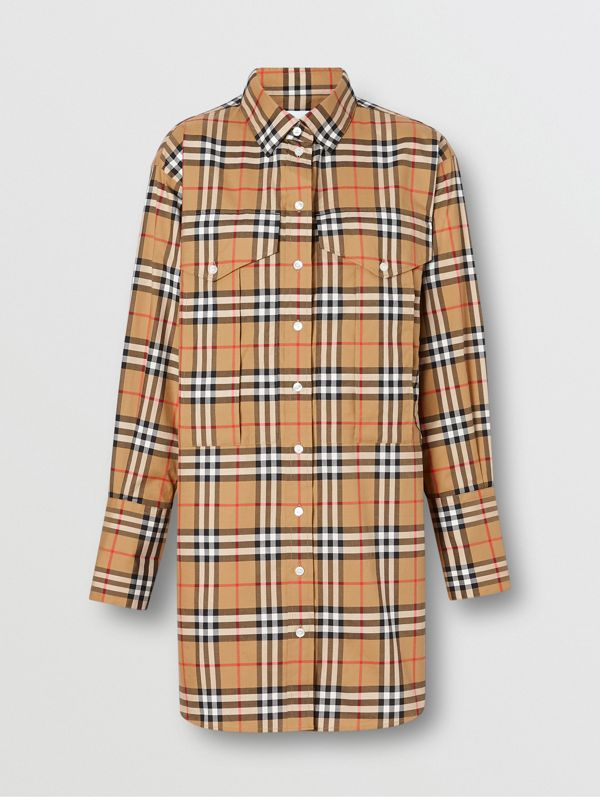 Vintage Check Cotton Oversized Shirt in Antique Yellow - Women | Burberry Singapore - cell image 3