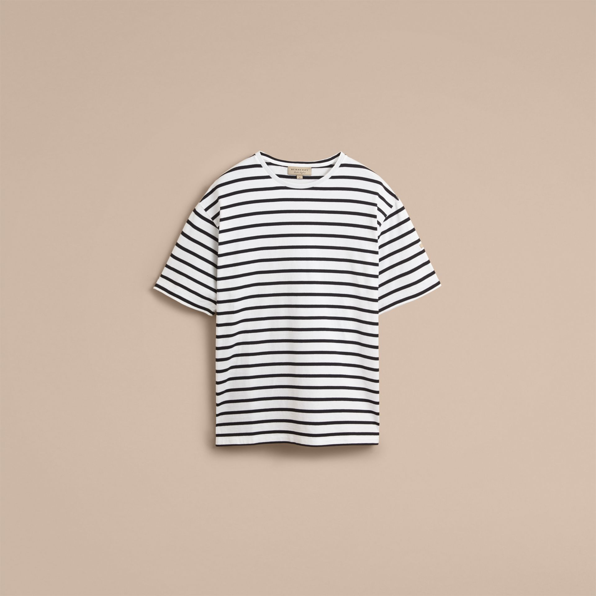 Striped Cotton Oversize T-shirt in White/black - Men | Burberry - gallery image 4