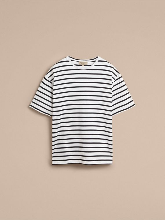 Striped Cotton Oversize T-shirt in White/black - Men | Burberry - cell image 3