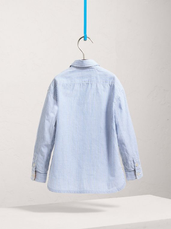 Directional Stripe Cotton Linen Shirt in Pale Blue/white - Boy | Burberry - cell image 3