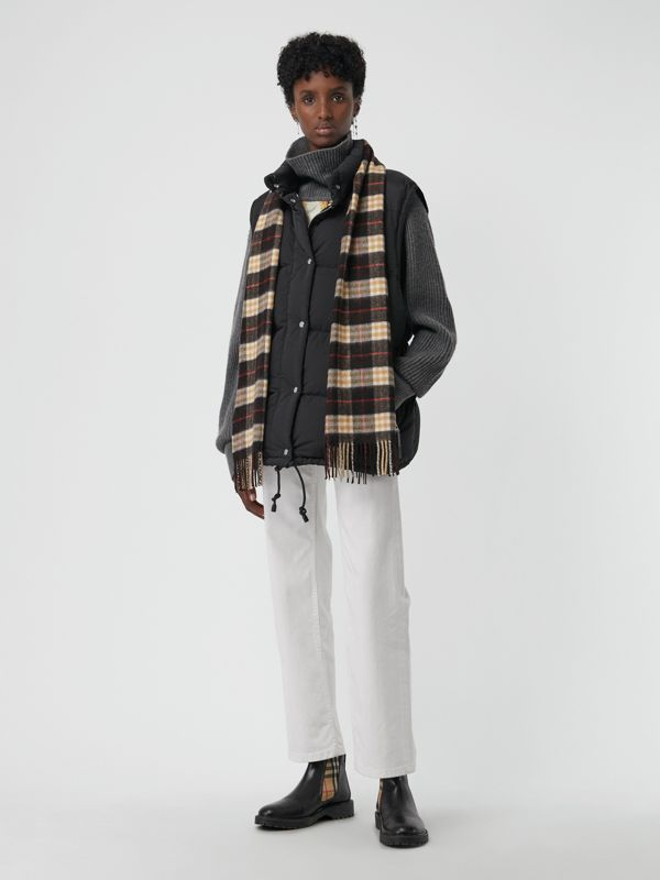Check Cashmere Scarf in Black | Burberry - cell image 2
