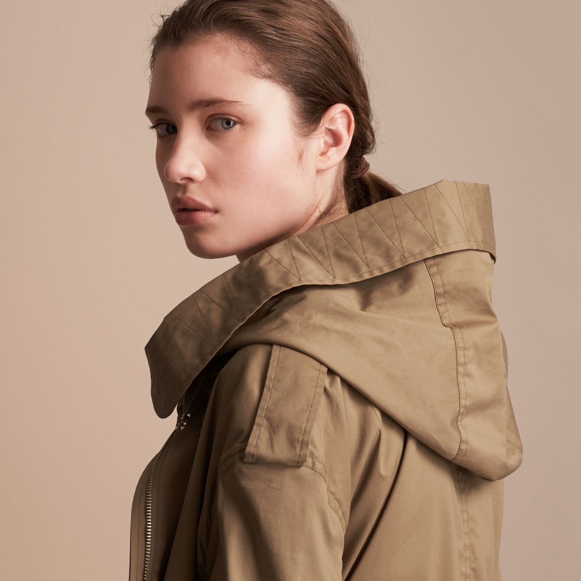 Hooded Water-resistant Parka in Flax Brown - Women | Burberry United States - gallery image 5
