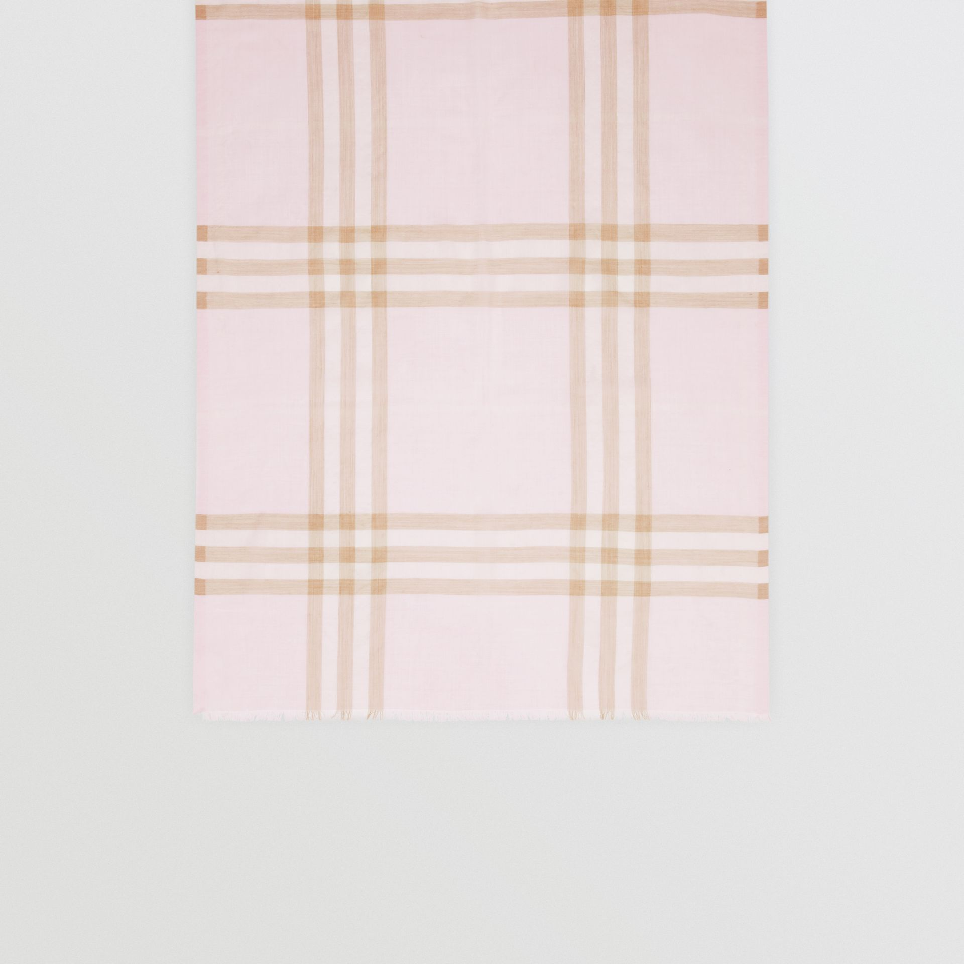 Lightweight Check Wool Silk Scarf in Alabaster | Burberry Singapore - gallery image 3
