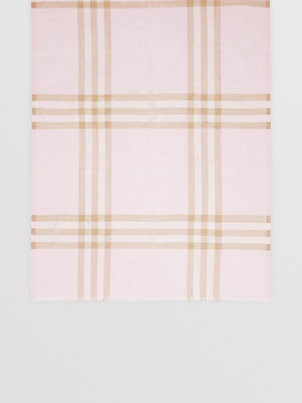 Lightweight Check Wool Silk Scarf in Alabaster | Burberry Singapore - cell image 3
