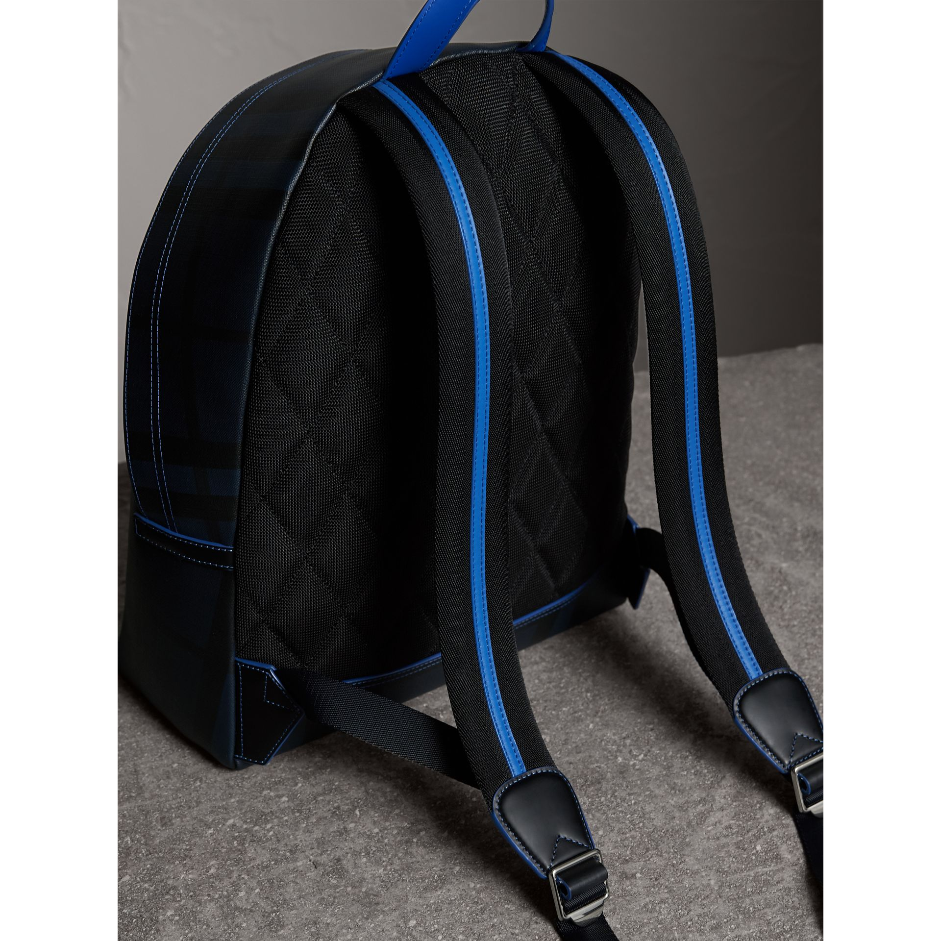 Leather Trim London Check Backpack in Navy/blue - Men | Burberry Hong Kong - gallery image 3