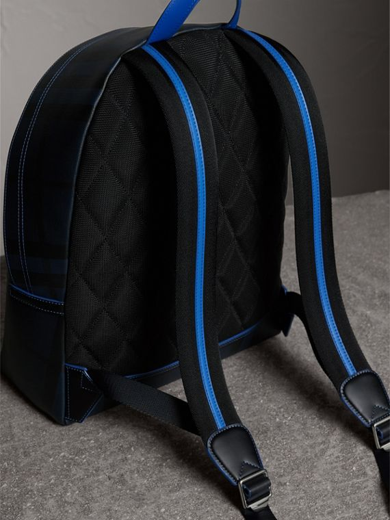 Leather Trim London Check Backpack in Navy/blue - Men | Burberry Canada - cell image 3