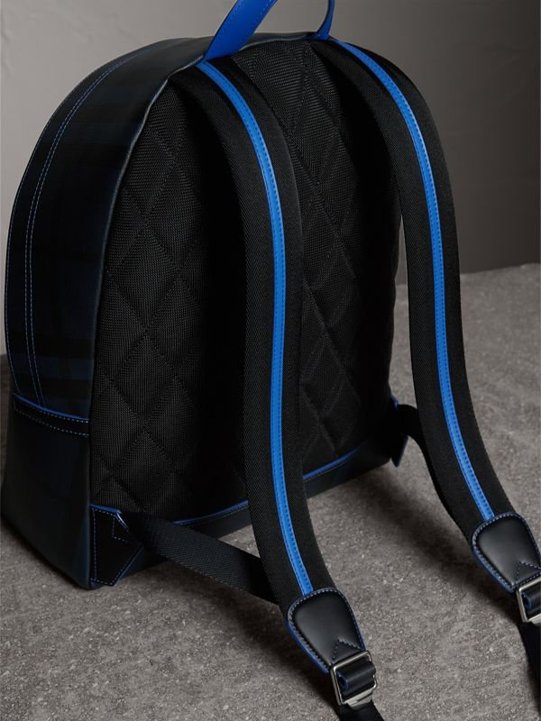 Leather Trim London Check Backpack in Navy/blue - Men | Burberry - cell image 3