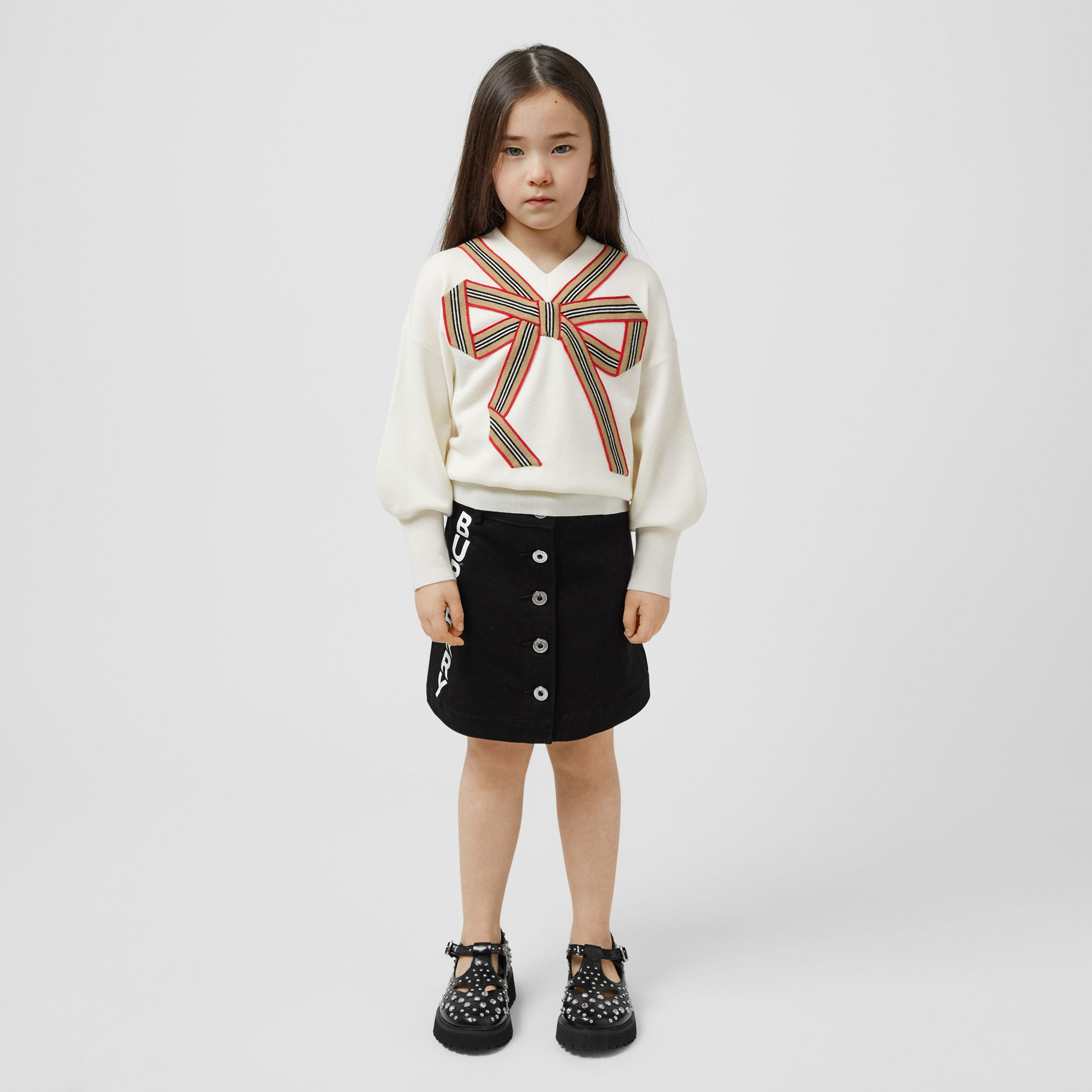 Icon Stripe Bow Merino Wool Silk Sweater | Burberry - 3
