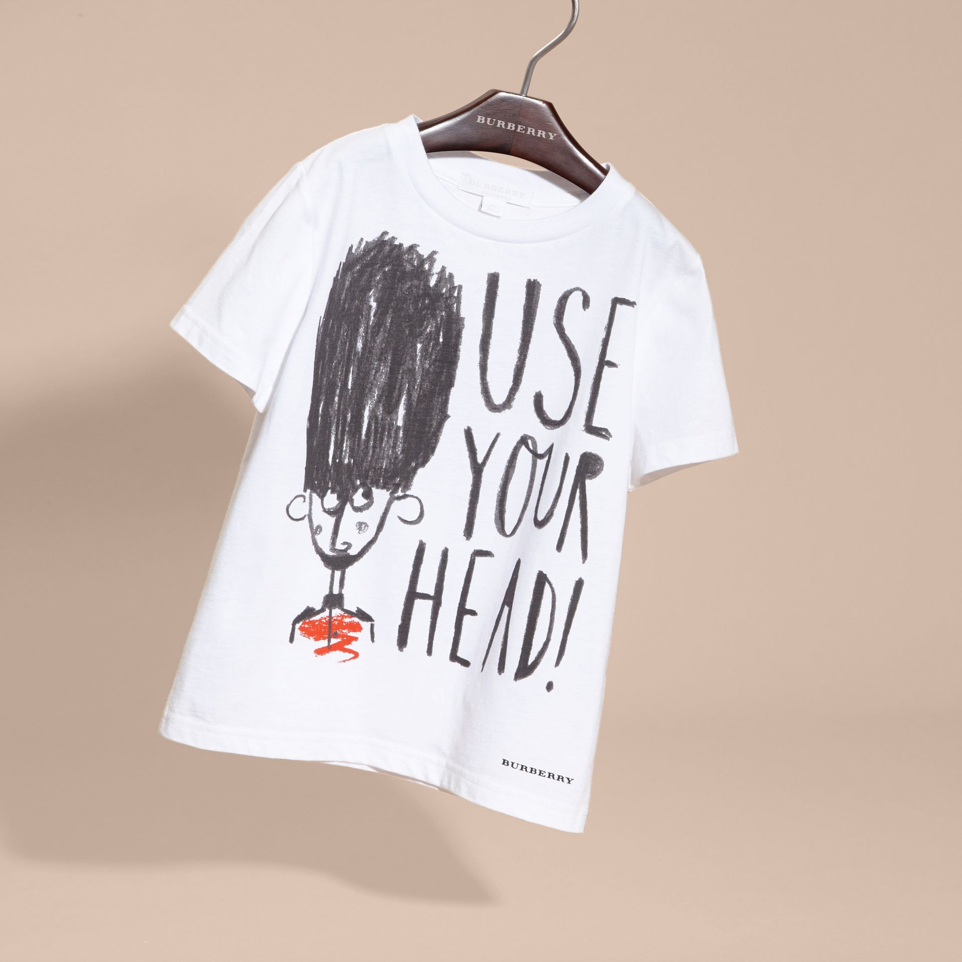 White Use Your Head Graphic Cotton T-shirt - gallery image 3