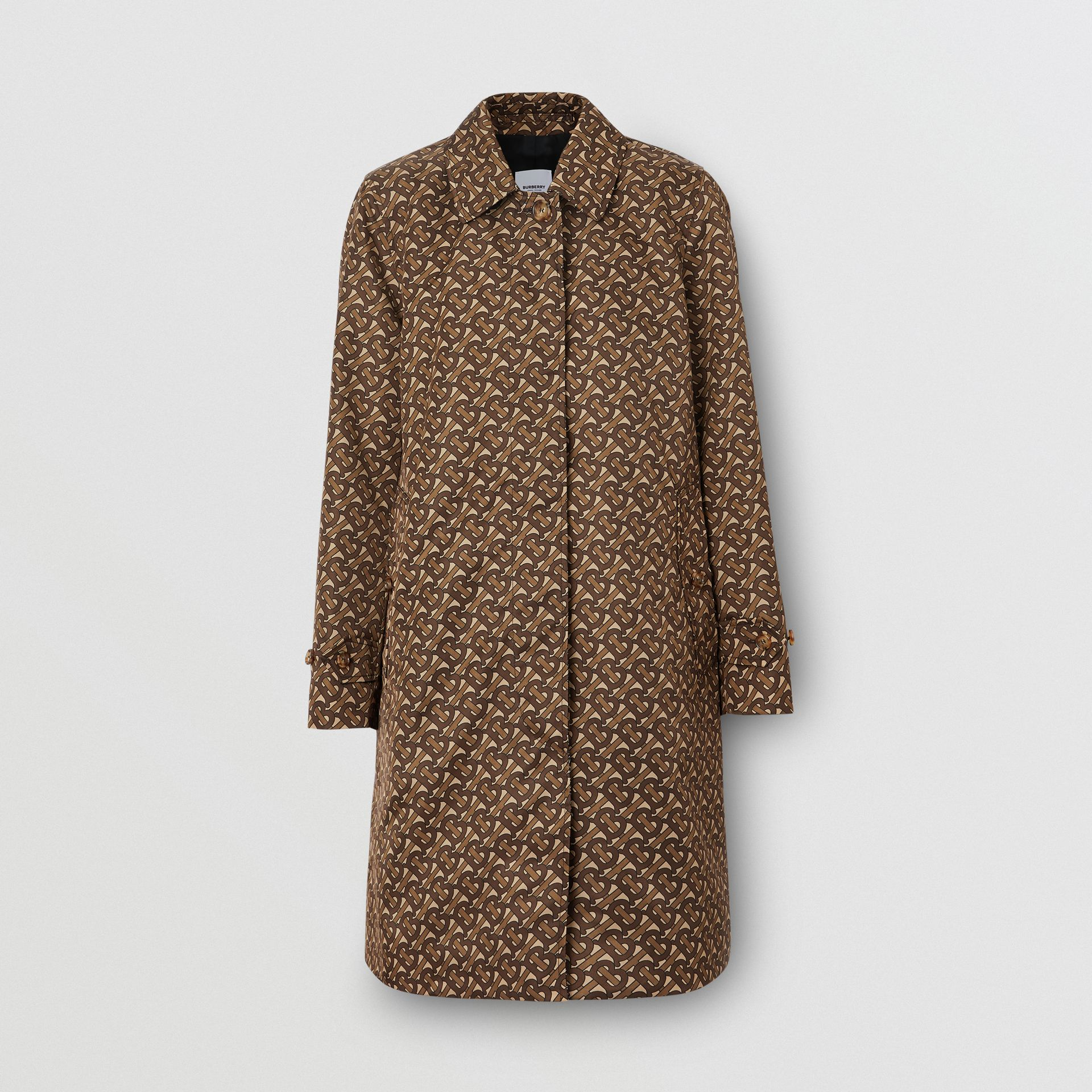 Monogram Stripe Print Nylon Car Coat in Bridle Brown - Women | Burberry - gallery image 3