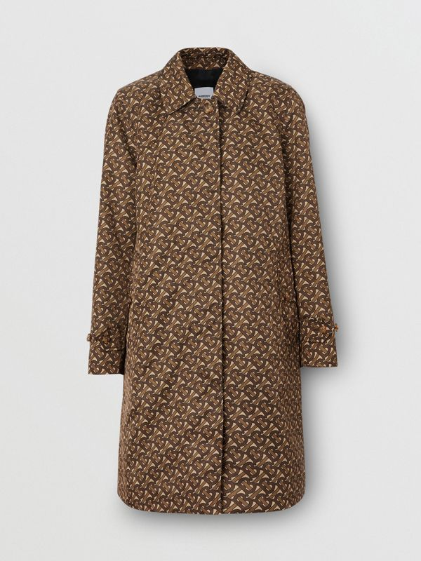 Monogram Stripe Print Nylon Car Coat in Bridle Brown - Women | Burberry - cell image 3