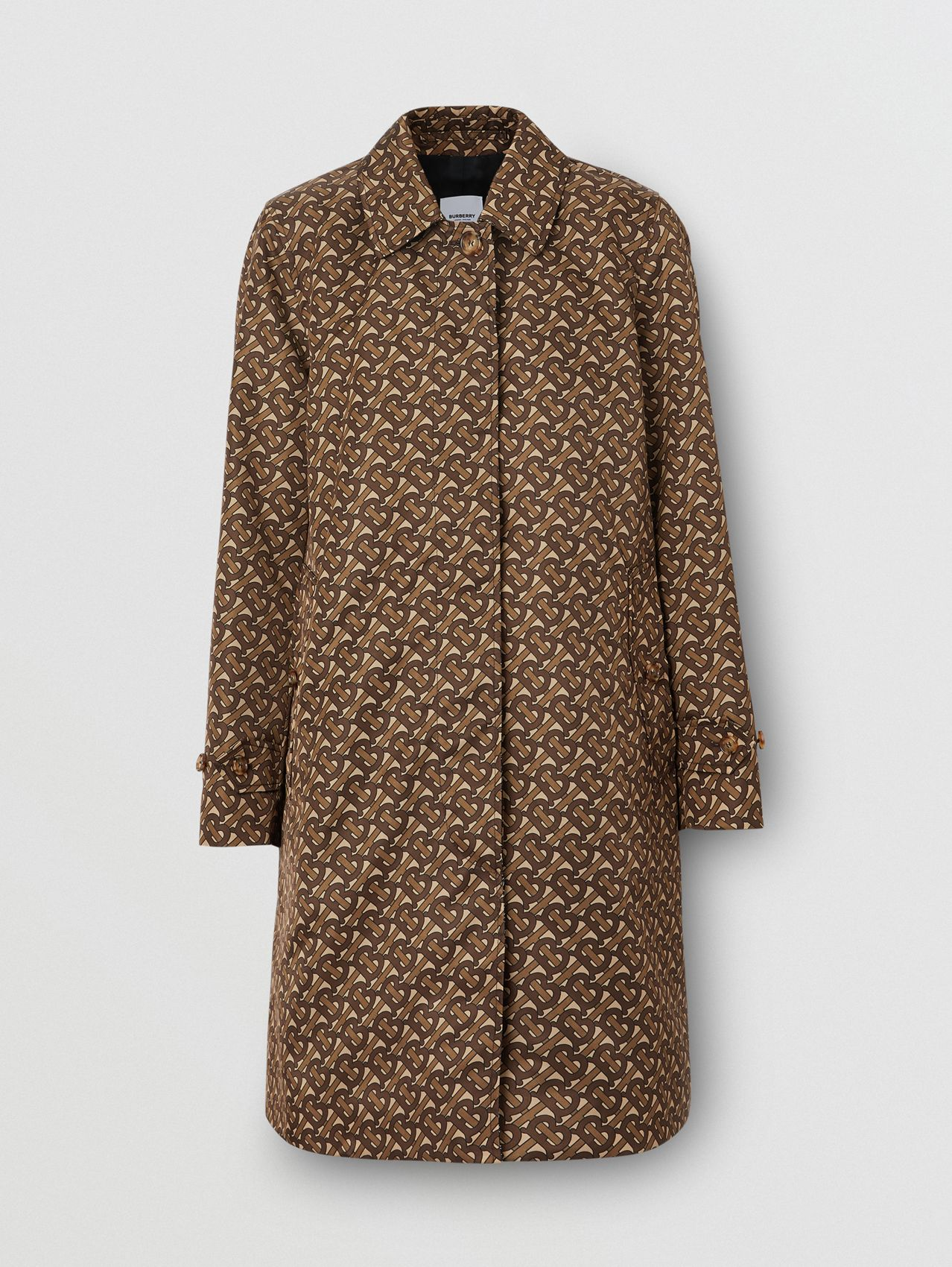 Monogram Stripe Print Nylon Car Coat in Bridle Brown