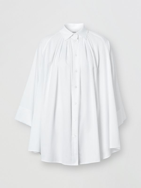 Monogram Cotton Jacquard Oversized Shirt in Optic White - Women | Burberry Singapore - cell image 3