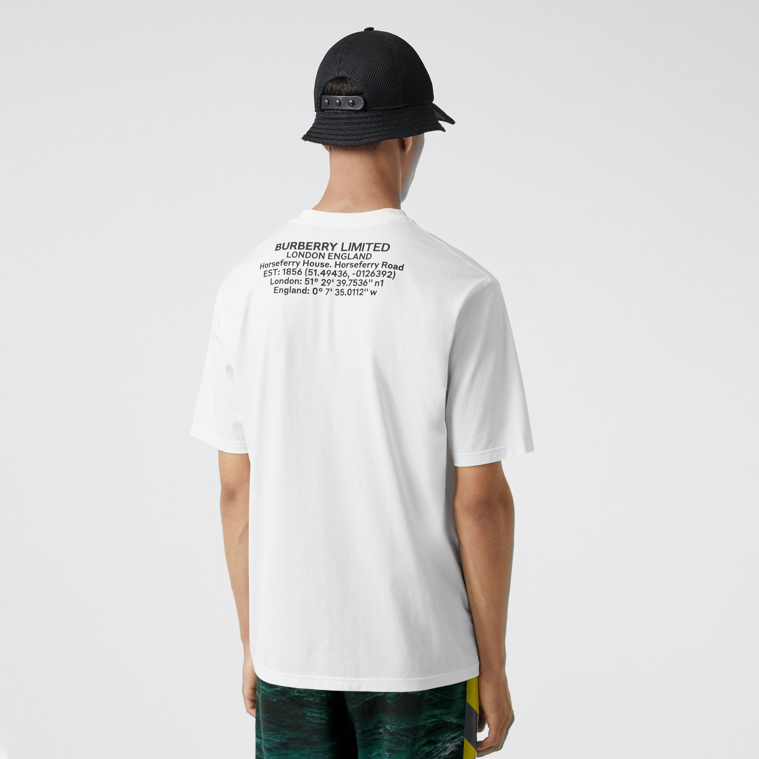 Location Print Cotton Oversized T-shirt in White - Men | Burberry United States - 3