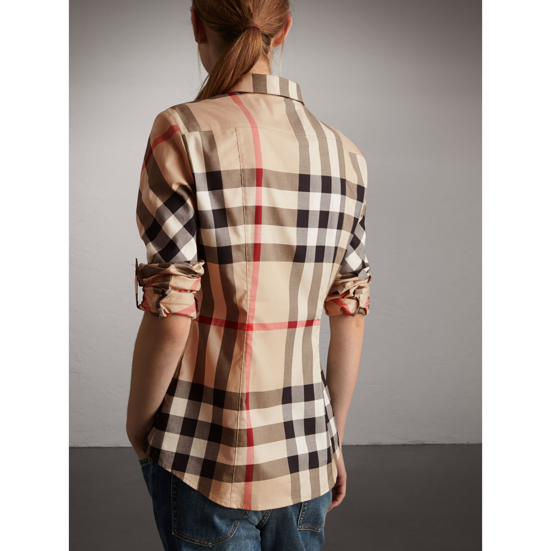 Stretch-Cotton Check Shirt in New Classic - Women | Burberry Canada - gallery image 3