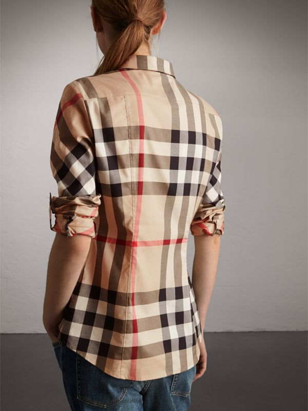 Stretch-Cotton Check Shirt in New Classic - Women | Burberry - cell image 2
