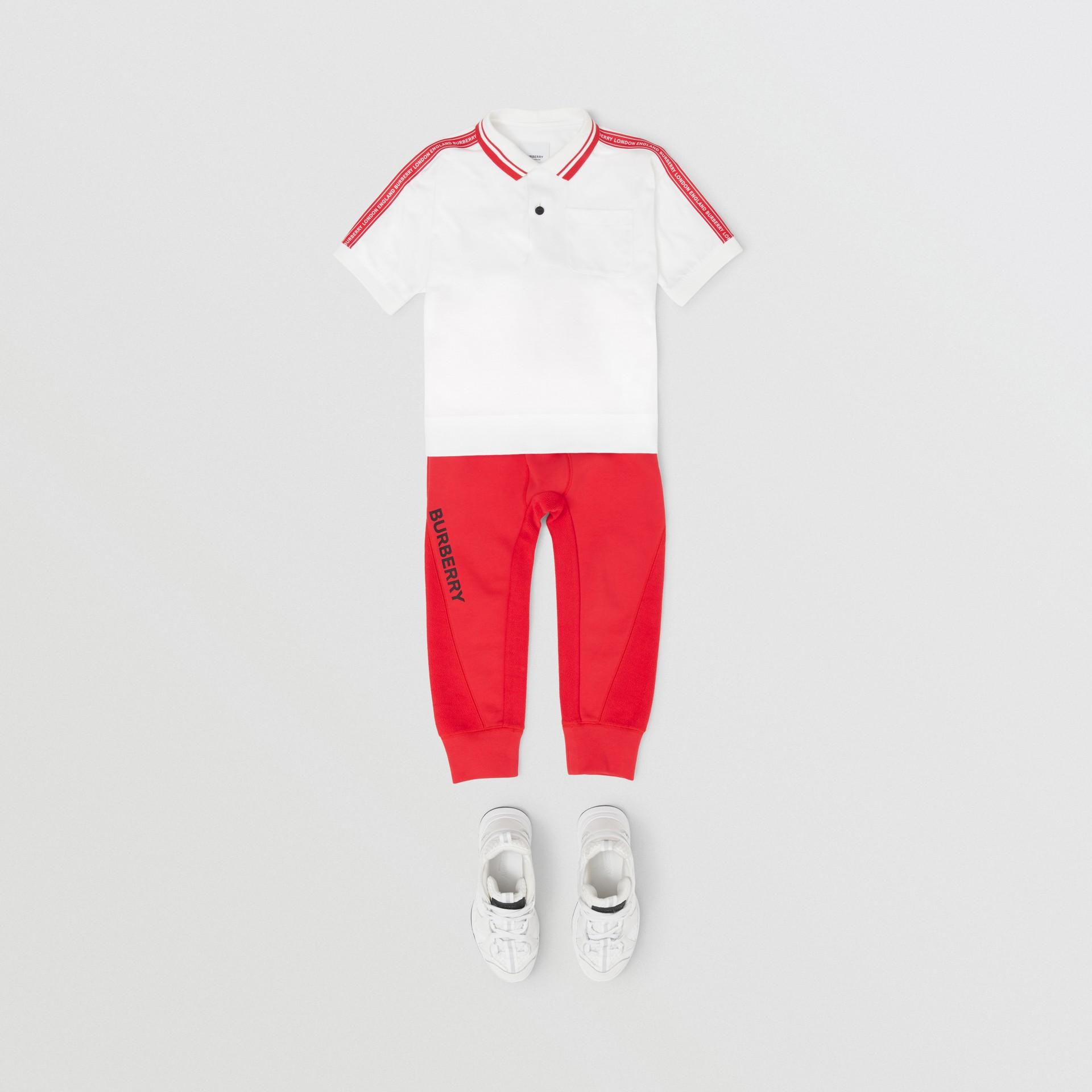 Polo en coton avec bande à logo (Blanc) | Burberry - photo de la galerie 2
