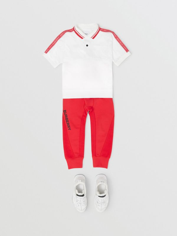 Polo en coton avec bande à logo (Blanc) | Burberry - cell image 2