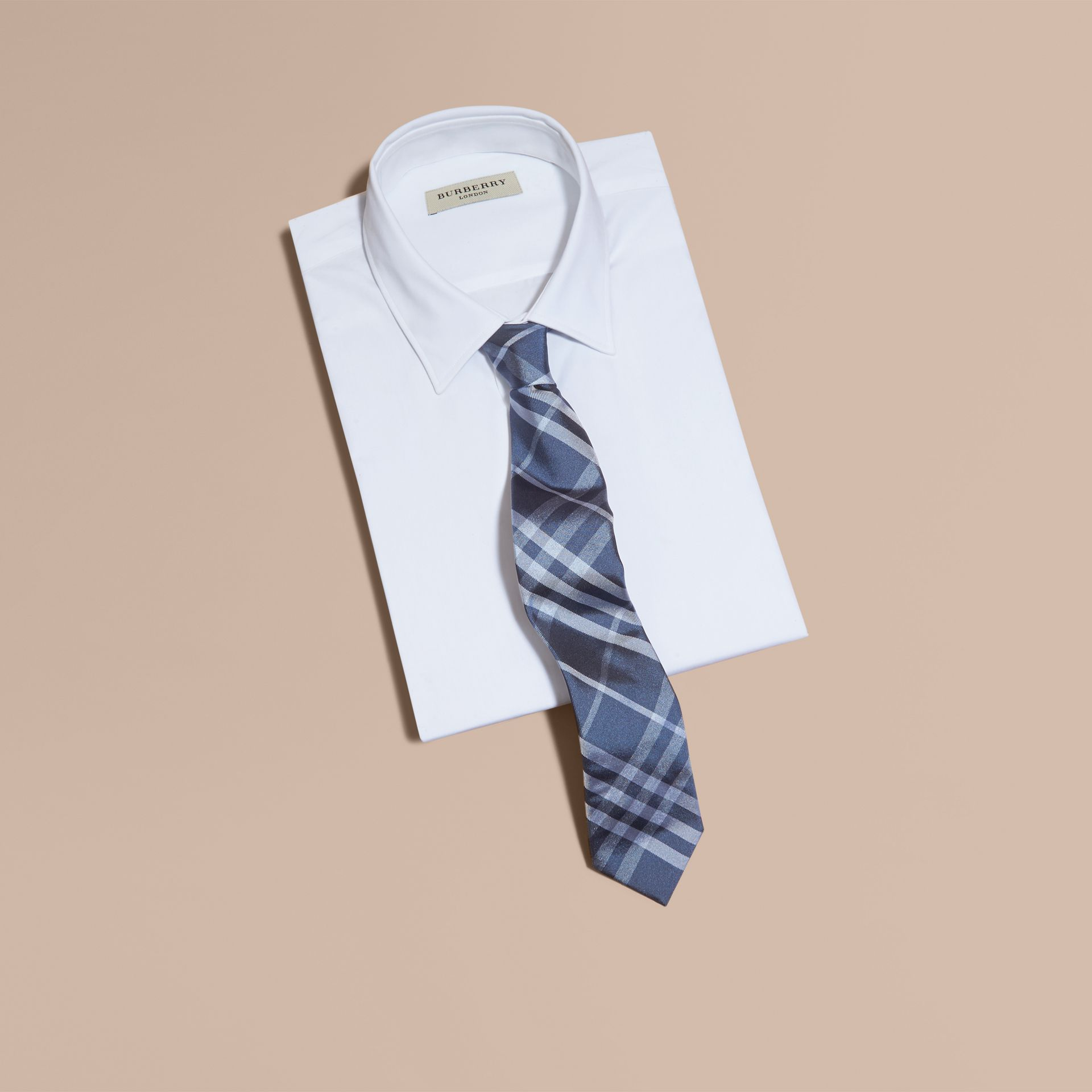 Mineral blue Modern Cut Check Silk Tie - gallery image 3