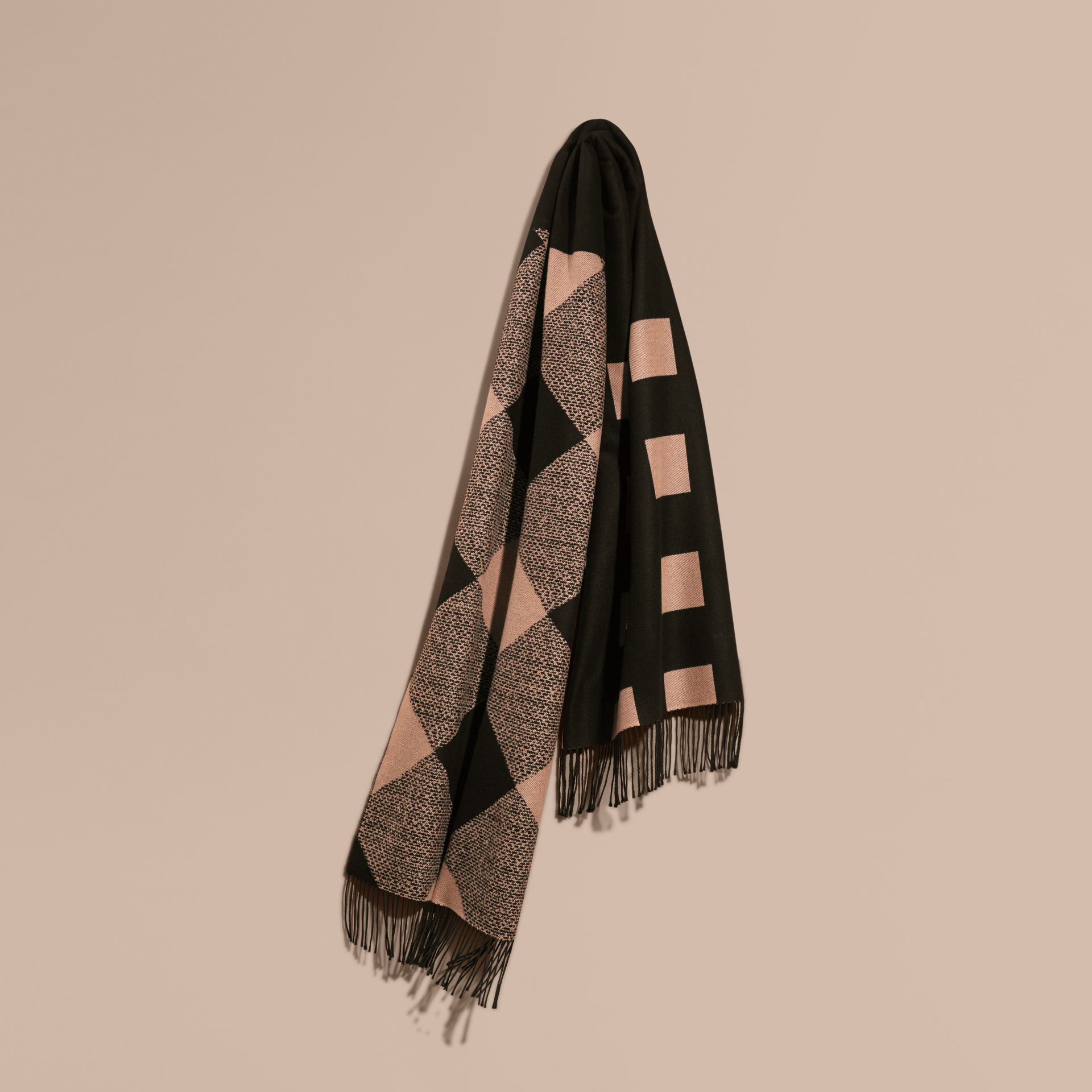 Mid camel/black Reversible Check Cashmere Scarf Mid Camel/black - gallery image 1