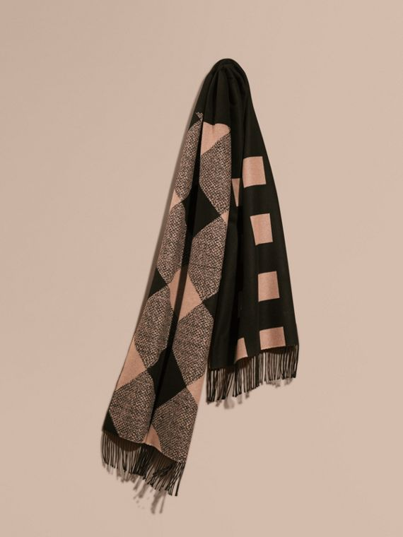 Reversible Check Cashmere Scarf Mid Camel/black