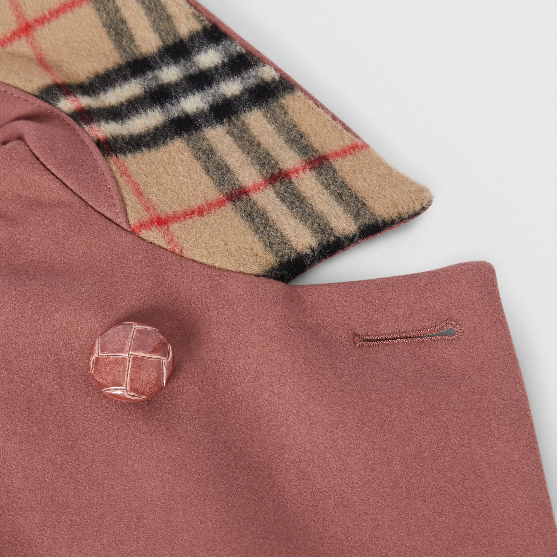 Melton Wool Tailored Pea Coat in Heather Pink | Burberry - gallery image 1