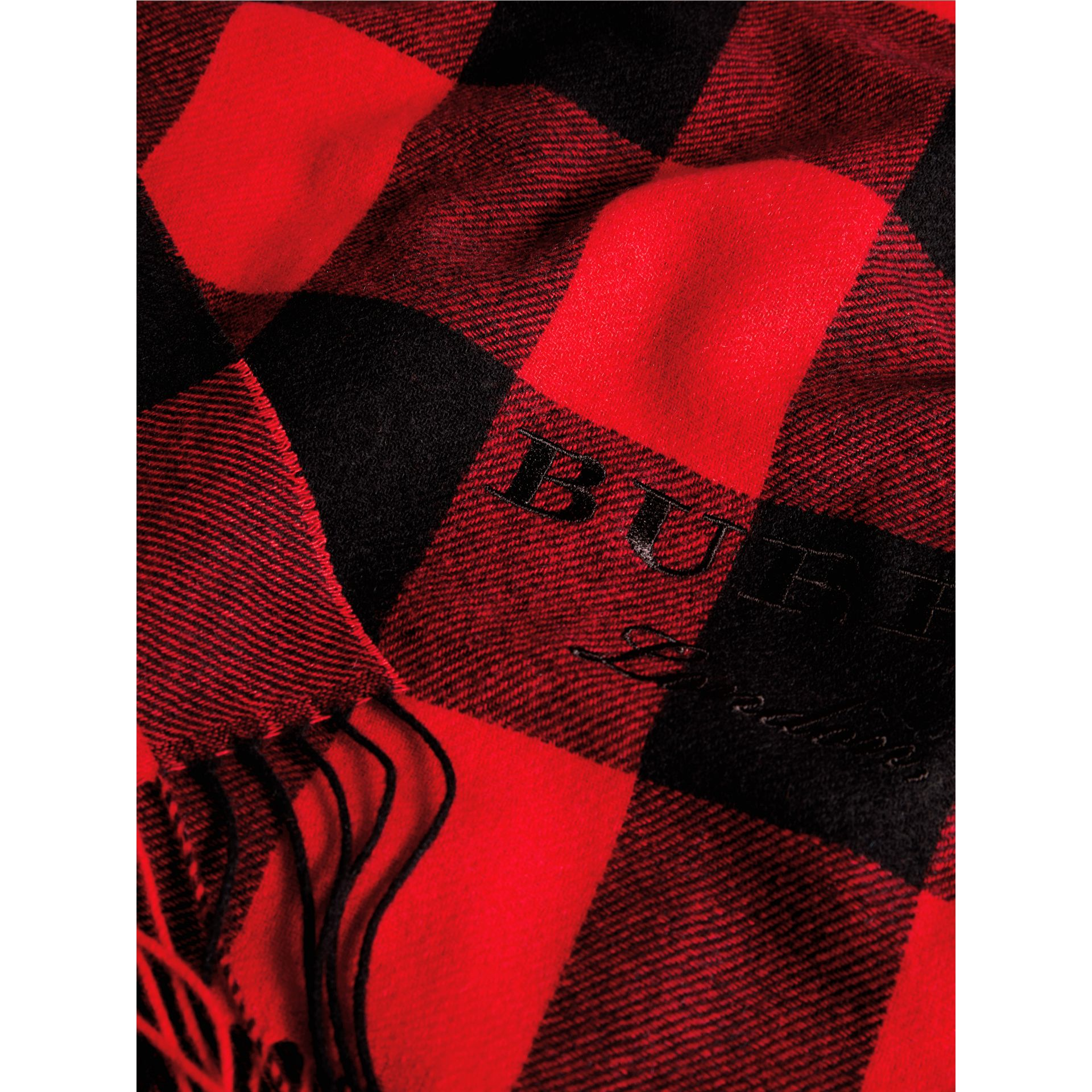 Oversized Gingham Cashmere Wool Scarf in Bright Red - Women | Burberry Australia - gallery image 1