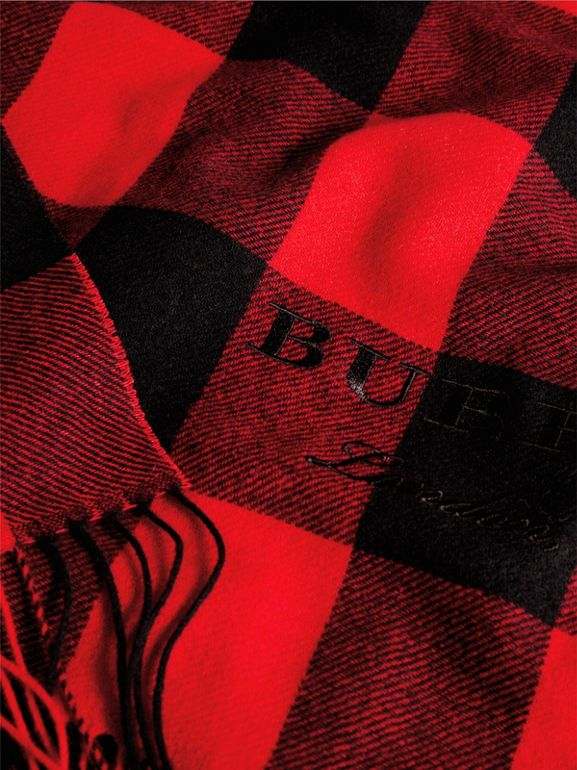 Oversized Gingham Cashmere Wool Scarf in Bright Red - Women | Burberry - cell image 1