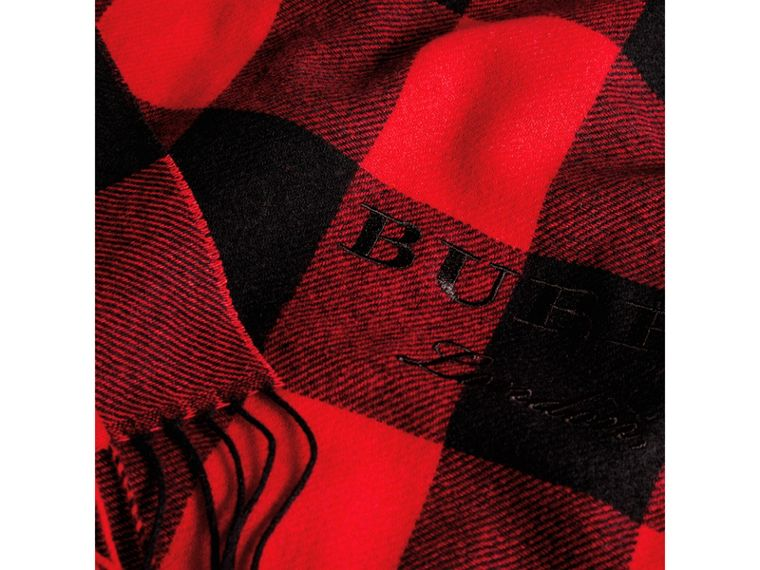 Oversized Gingham Cashmere Wool Scarf in Bright Red - Women | Burberry Australia - cell image 1