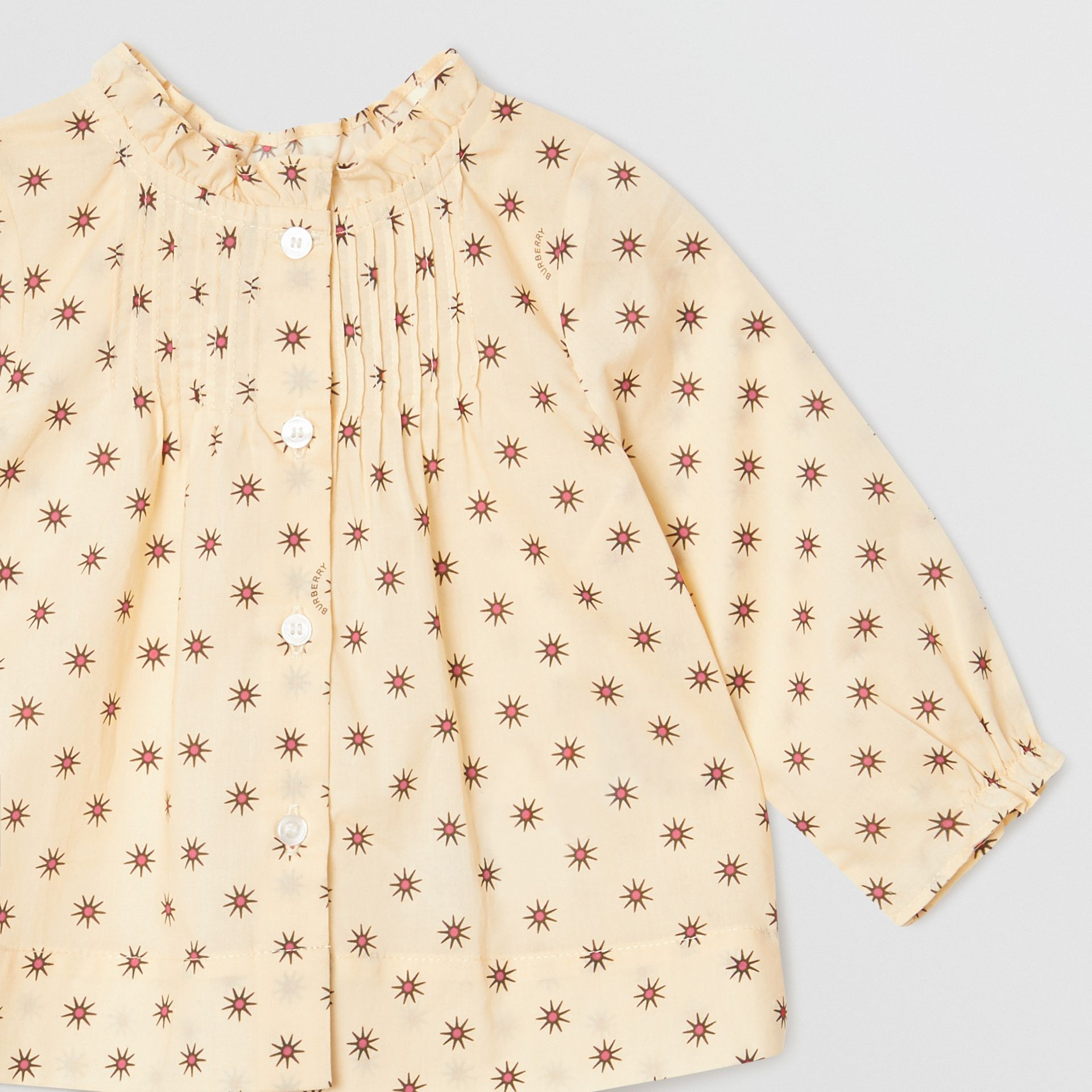 Ruffle Detail Star Print Cotton Blouse in Military Red - Children | Burberry Australia - gallery image 4