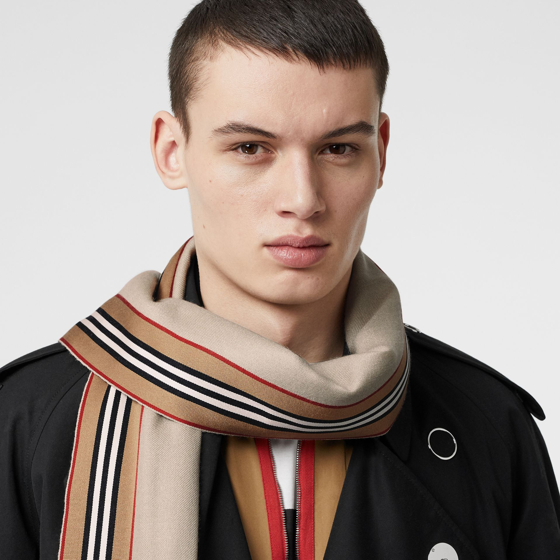 Icon Stripe Cashmere Silk Scarf in Stone | Burberry Singapore - gallery image 3