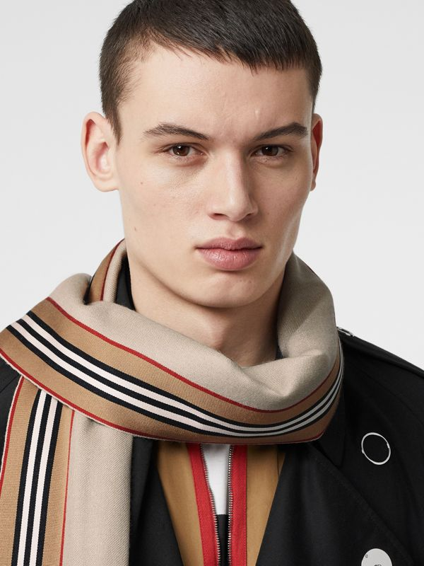 Icon Stripe Cashmere Silk Scarf in Stone | Burberry - cell image 3