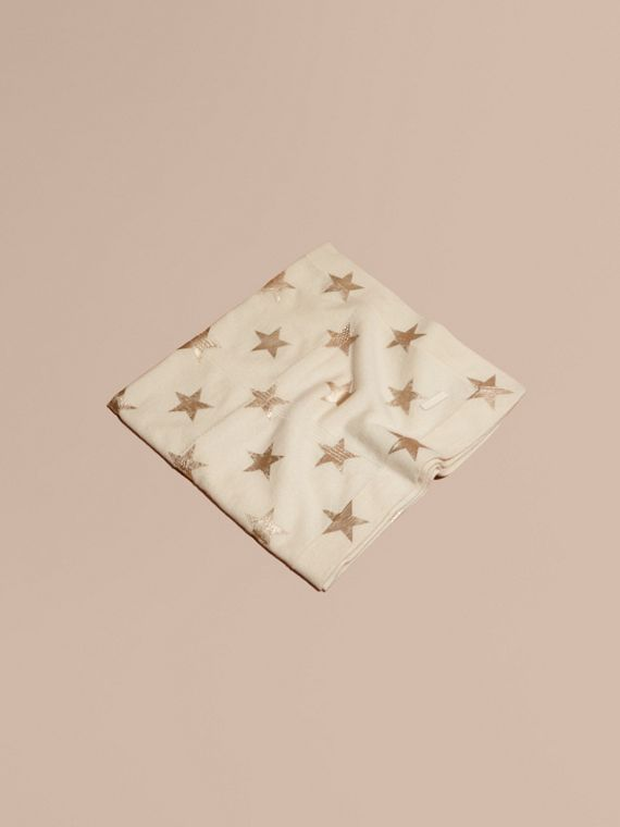 Star Print Check Cashmere Baby Blanket