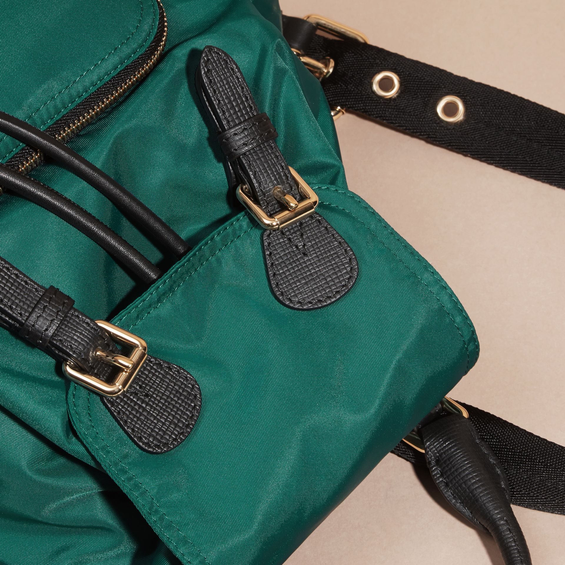 The Small Rucksack in Technical Nylon and Leather Pine Green - gallery image 2