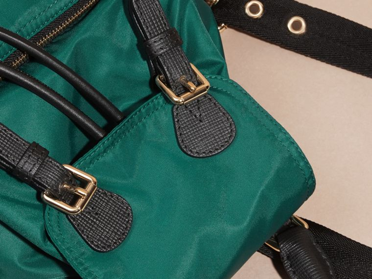 The Small Rucksack in Technical Nylon and Leather Pine Green - cell image 1