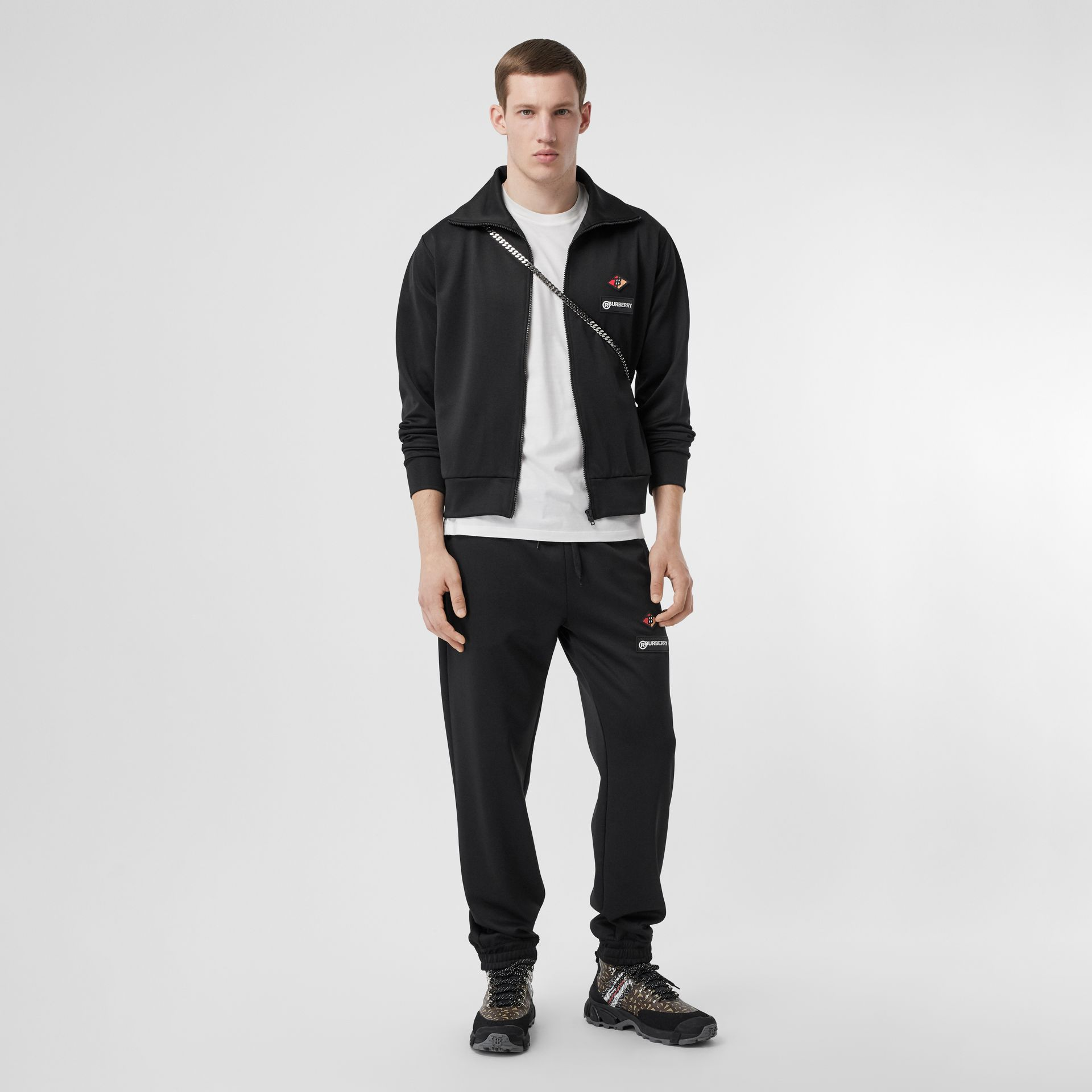 Logo Graphic Jersey Funnel Neck Track Top in Black - Men | Burberry - gallery image 0