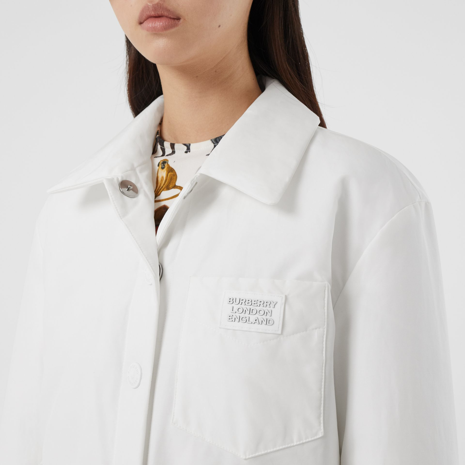 Logo Appliqué Cotton Blend Jacket in White | Burberry United Kingdom - gallery image 1