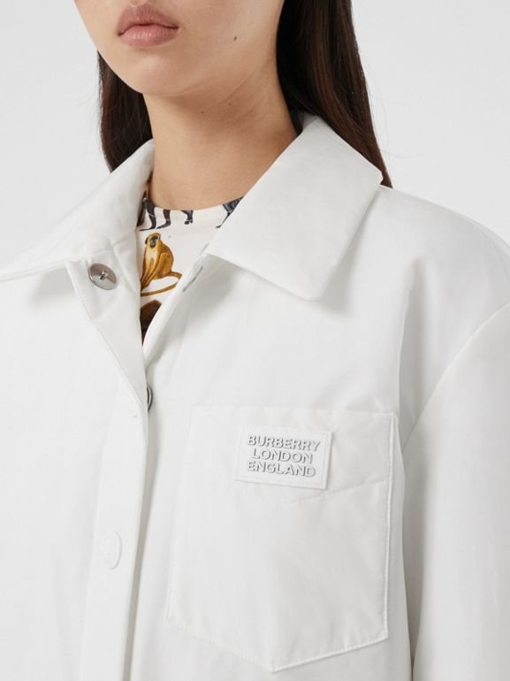 Logo Appliqué Cotton Blend Jacket in White | Burberry United Kingdom - cell image 1
