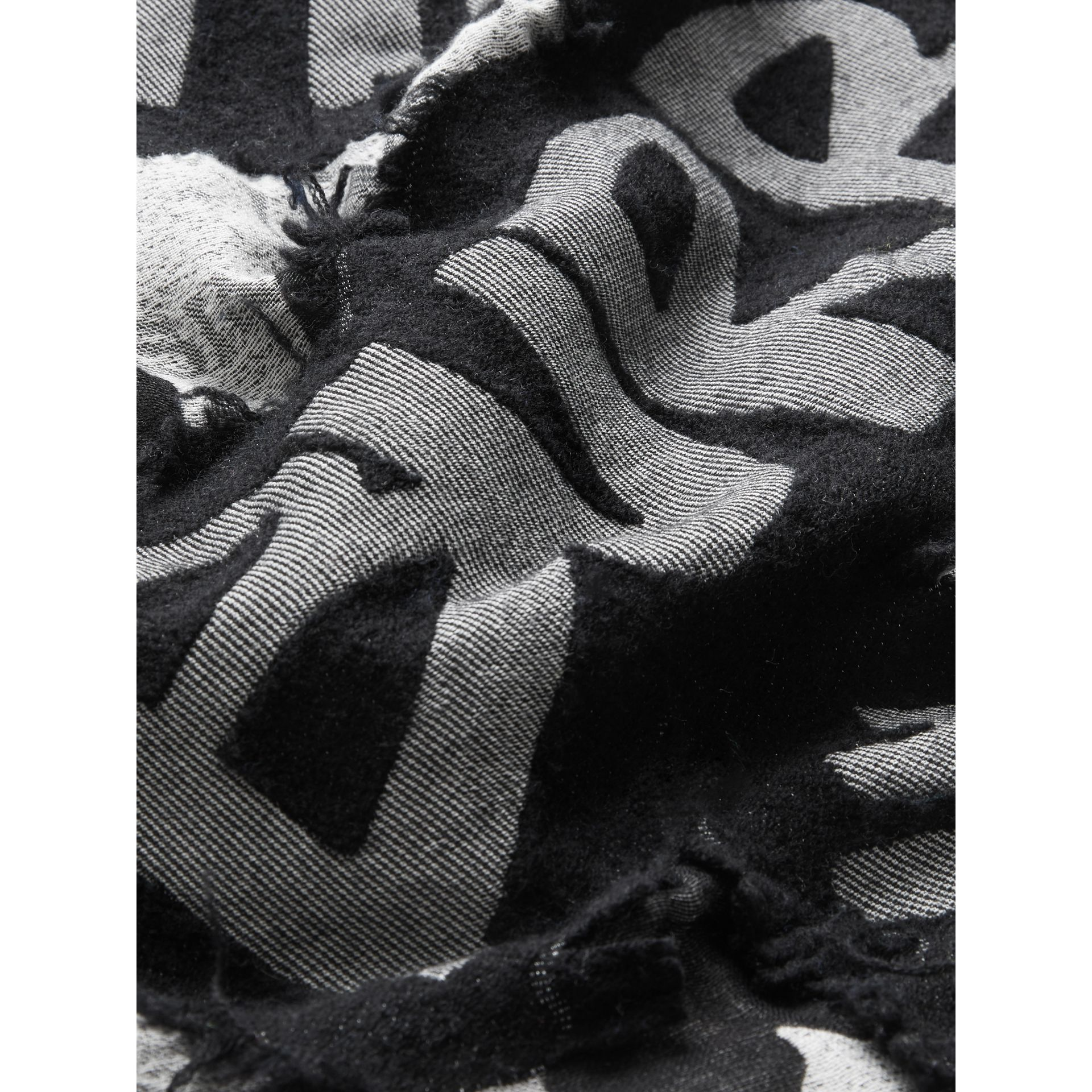 Graffiti Print Fil Coupé Cotton Wool Modal Scarf in Black | Burberry - gallery image 1